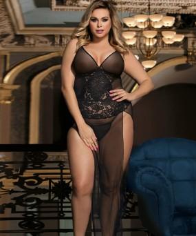 롱 블랙 레이스 드레스 XL