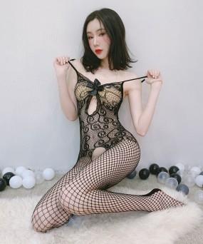 가슴 리본 밑트임 전신 바디스타킹